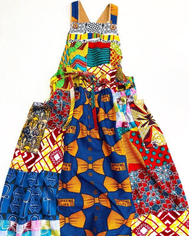 画像1: REJOICE アフリカンバティックパッチワークエプロンワンピース
